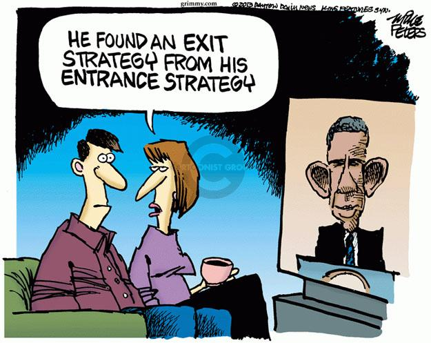 Mike Peters  Mike Peters' Editorial Cartoons 2013-09-11 exit strategy