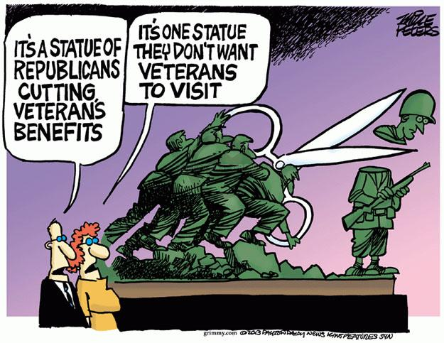 Its a statue of Republicans cutting veterans benefits. Its one statue they don't want veterans to visit.