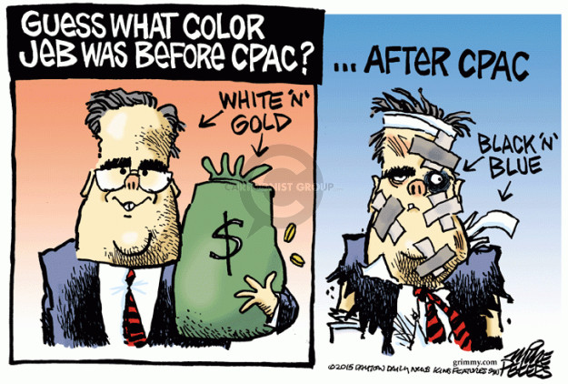 Guess what color Jeb was before CPAC? White n gold … after CPAC. Black n blue.