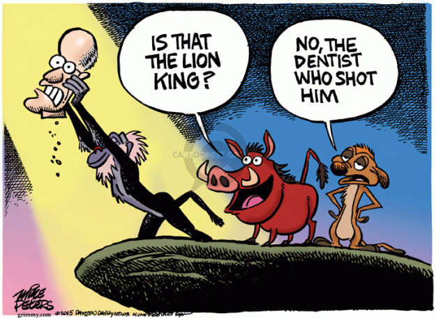 Is that the Lion King? No, the dentist who shot him.