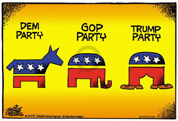 Dem party. GOP party. Trump party.