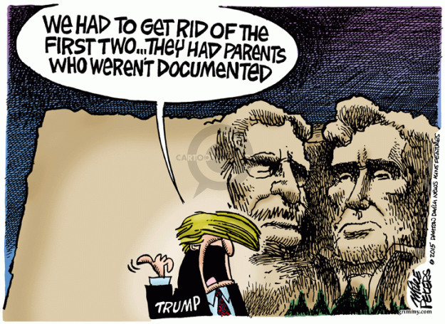 Cartoonist Mike Peters  Mike Peters' Editorial Cartoons 2015-08-20 immigrant