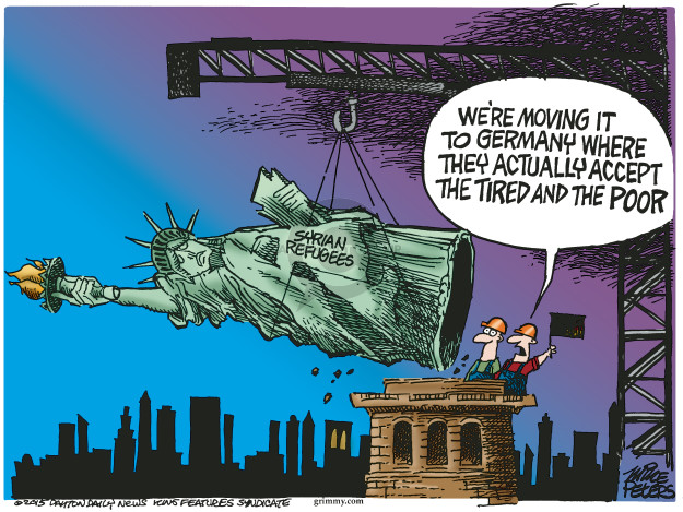 Cartoonist Mike Peters  Mike Peters' Editorial Cartoons 2015-09-10 immigrant