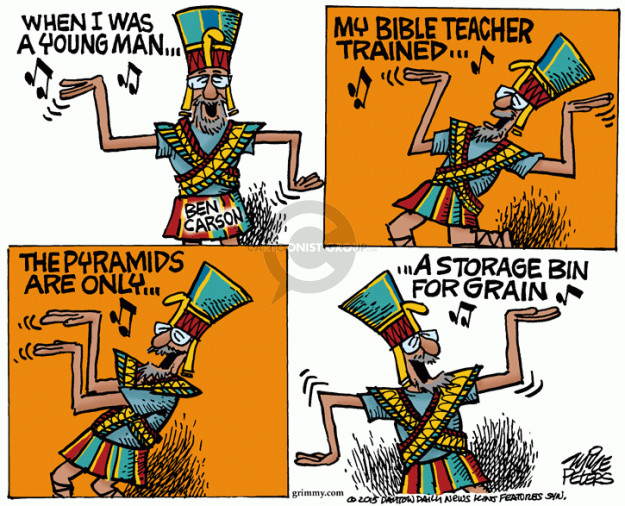 When I was a young man … My bible teacher trained … the pyramids are only … a storage bin for grain.