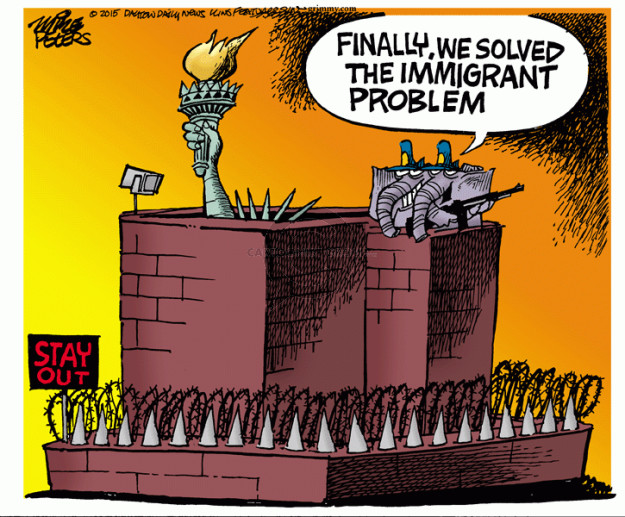 Cartoonist Mike Peters  Mike Peters' Editorial Cartoons 2015-11-20 immigrant