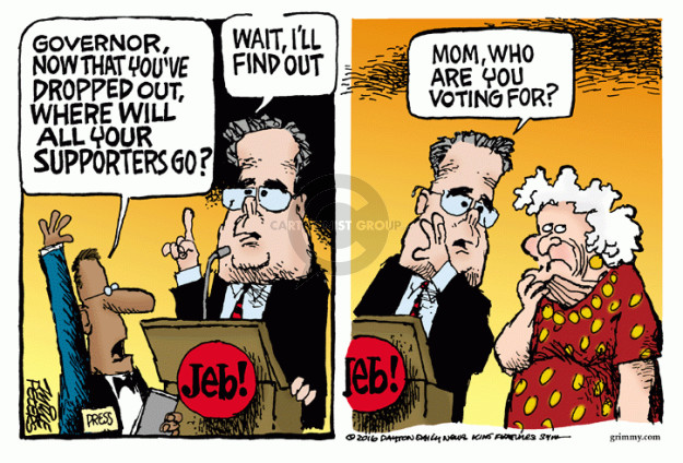 Cartoonist Mike Peters  Mike Peters' Editorial Cartoons 2016-02-23 Barbara Bush