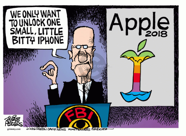We only want to unlock one small, little bitty iPhone. Apple 2018. FBI.
