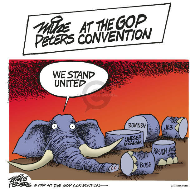 Mike Peters at the GOP Convention.  We stand united.  Lindsey Graham.  Romney.  Jeb.  Kasich.  Bush.