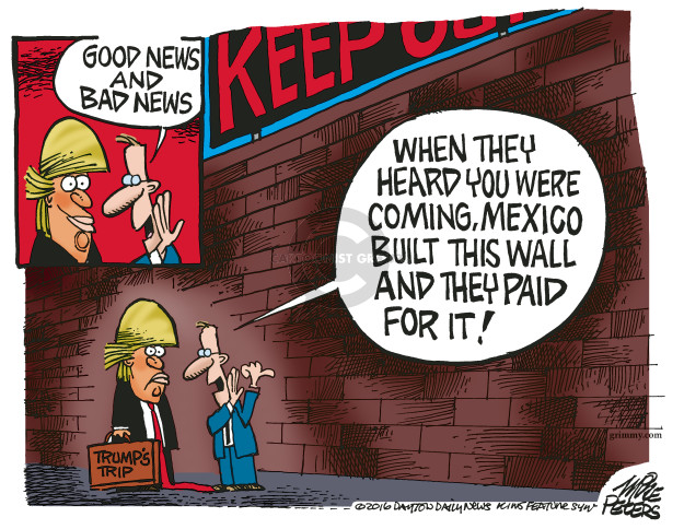 Mike Peters  Mike Peters' Editorial Cartoons 2016-08-31 Trump Immigration