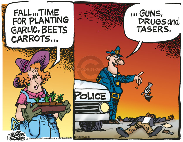 Cartoonist Mike Peters  Mike Peters' Editorial Cartoons 2016-09-23 gun rights