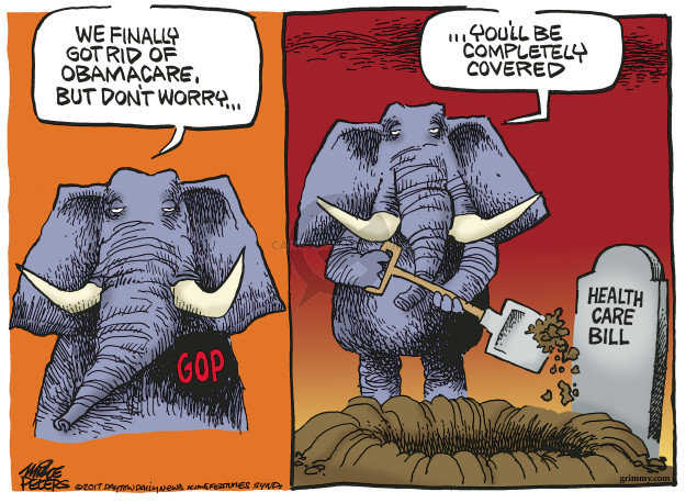 Cartoonist Mike Peters  Mike Peters' Editorial Cartoons 2017-03-09 congress health care