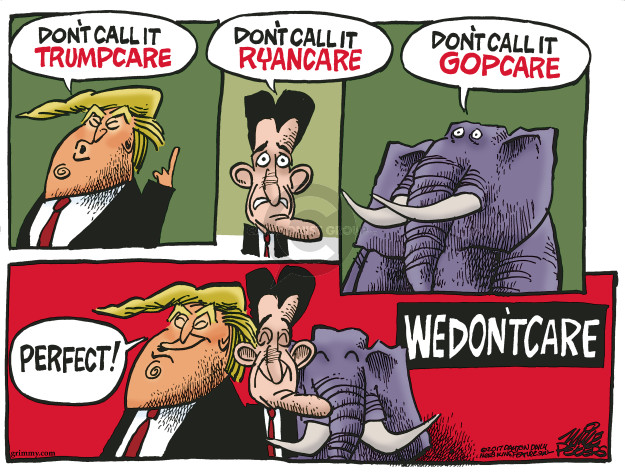 Cartoonist Mike Peters  Mike Peters' Editorial Cartoons 2017-03-15 health care