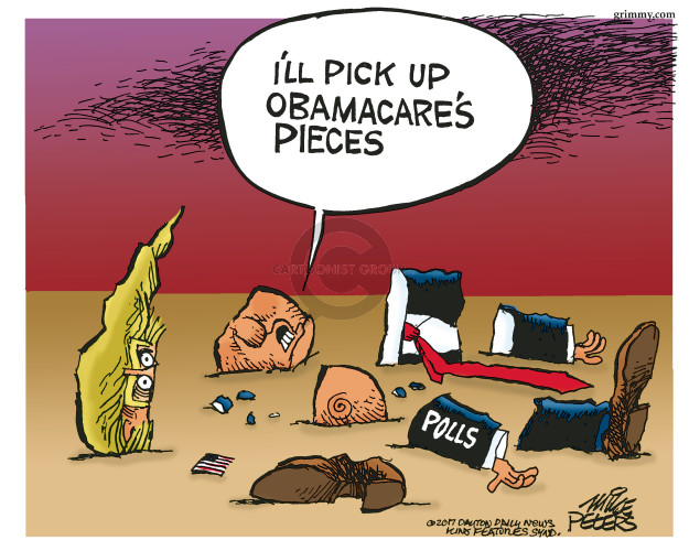 Cartoonist Mike Peters  Mike Peters' Editorial Cartoons 2017-04-01 health care