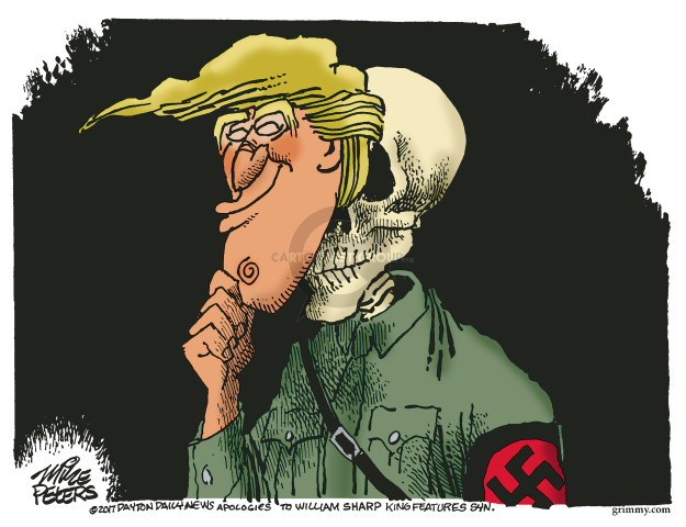 No caption (A Nazi with a skull for a head removes a Donald Trump mask).
