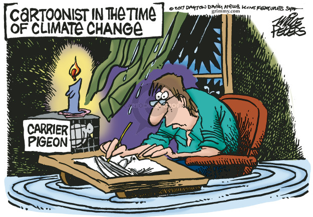 Cartoonist in the time of climate change. Carrier pigeon.