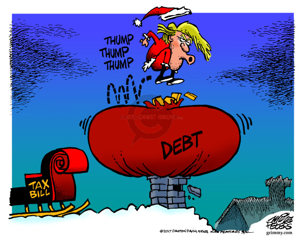 Tax bill.  Thump thump thump.  Debt.
