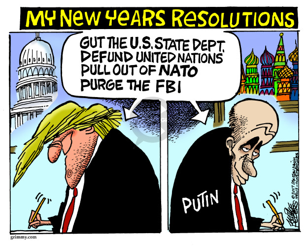 Cartoonist Mike Peters  Mike Peters' Editorial Cartoons 2017-12-28 Vladimir Putin