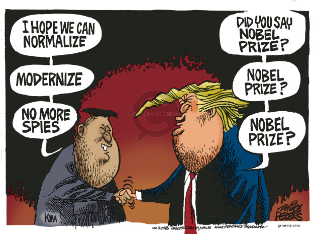 Cartoonist Mike Peters  Mike Peters' Editorial Cartoons 2018-06-12 Kim