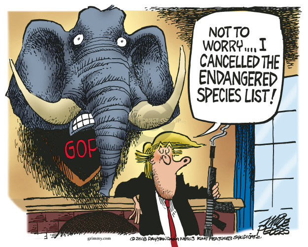 Cartoonist Mike Peters  Mike Peters' Editorial Cartoons 2018-08-10 endangered