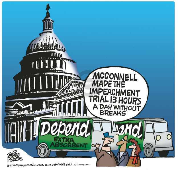 Cartoonist Mike Peters  Mike Peters' Editorial Cartoons 2020-01-23 impeachment