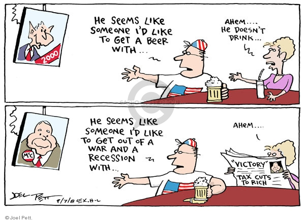Cartoonist Joel Pett  Joel Pett's Editorial Cartoons 2008-09-07 recession