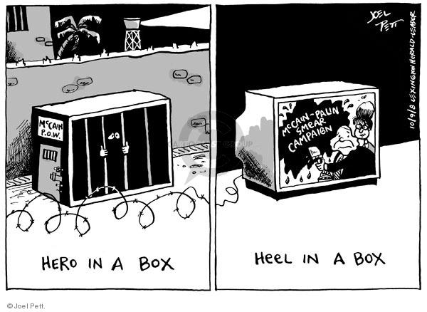 Cartoonist Joel Pett  Joel Pett's Editorial Cartoons 2008-10-09 mudslinging