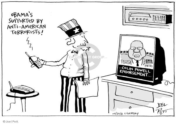 Cartoonist Joel Pett  Joel Pett's Editorial Cartoons 2008-10-20 politics and fear