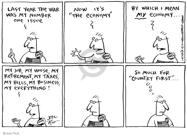 Cartoonist Joel Pett  Joel Pett's Editorial Cartoons 2008-10-29 recession