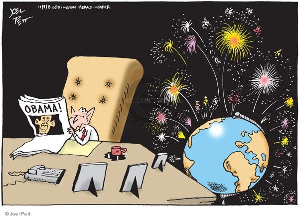 Cartoonist Joel Pett  Joel Pett's Editorial Cartoons 2008-11-09 George W. Bush
