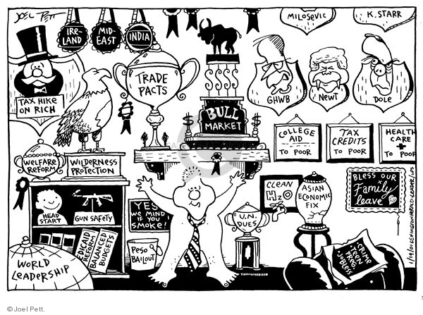 Joel Pett  Joel Pett's Editorial Cartoons 2001-01-19 stock market