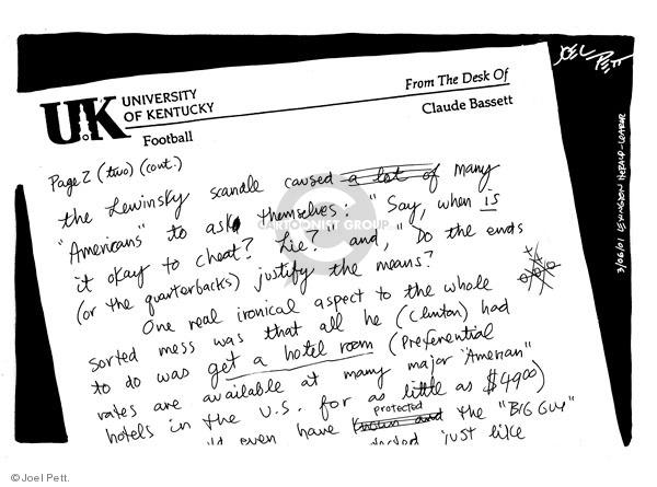 Cartoonist Joel Pett  Joel Pett's Editorial Cartoons 2001-03-06 Bill Clinton