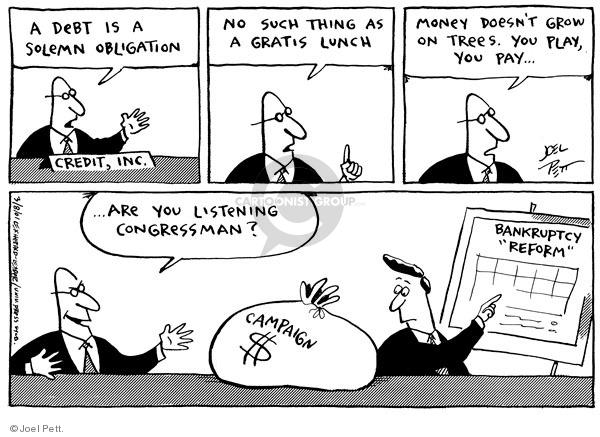 Joel Pett  Joel Pett's Editorial Cartoons 2001-03-08 owe