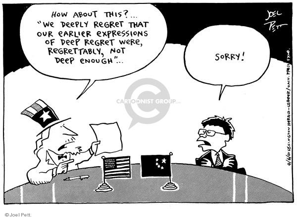Cartoonist Joel Pett  Joel Pett's Editorial Cartoons 2001-04-06 leader