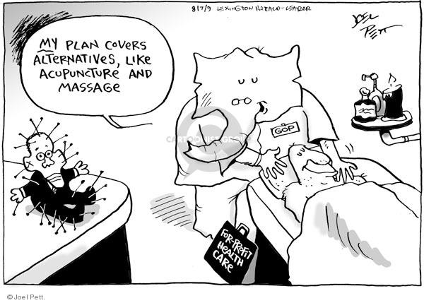 Joel Pett  Joel Pett's Editorial Cartoons 2009-07-30 health care reform opposition