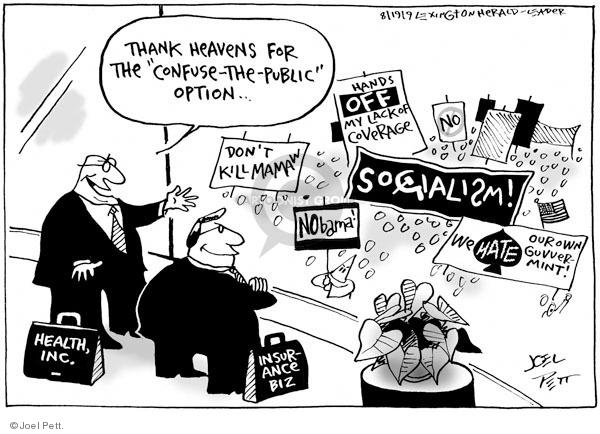 Joel Pett  Joel Pett's Editorial Cartoons 2009-08-19 health care reform opposition