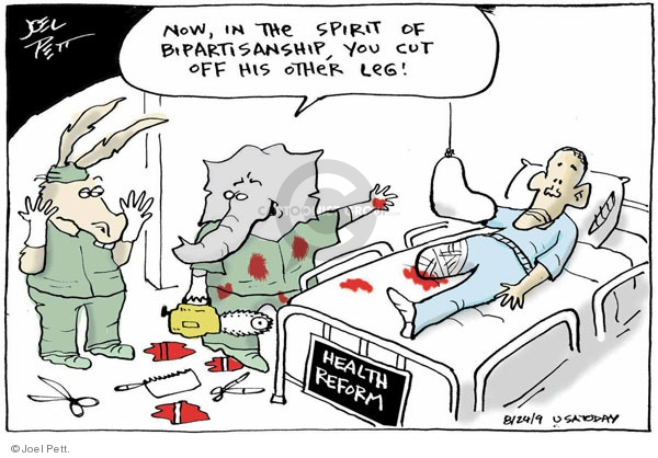 Cartoonist Joel Pett  Joel Pett's Editorial Cartoons 2009-08-24 congress health care