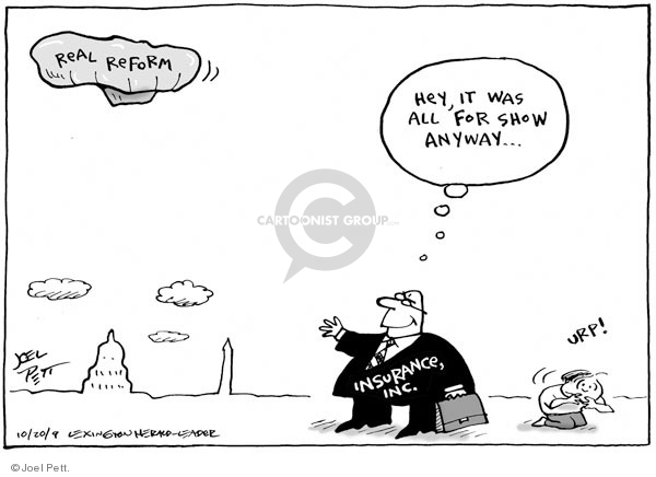 Joel Pett  Joel Pett's Editorial Cartoons 2009-10-20 health care reform opposition