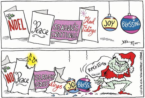 Cartoonist Joel Pett  Joel Pett's Editorial Cartoons 2009-12-13 recession