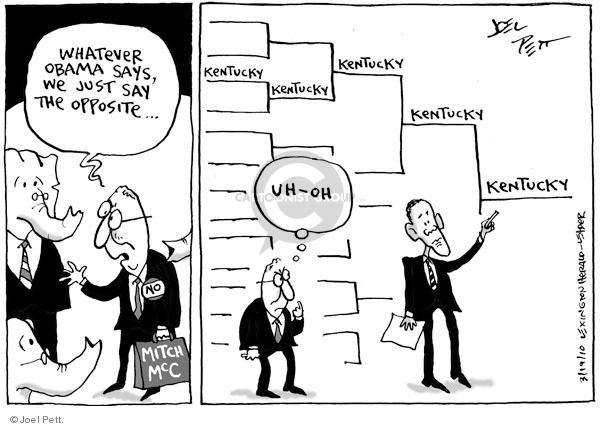 Cartoonist Joel Pett  Joel Pett's Editorial Cartoons 2010-03-19 Republican opposition