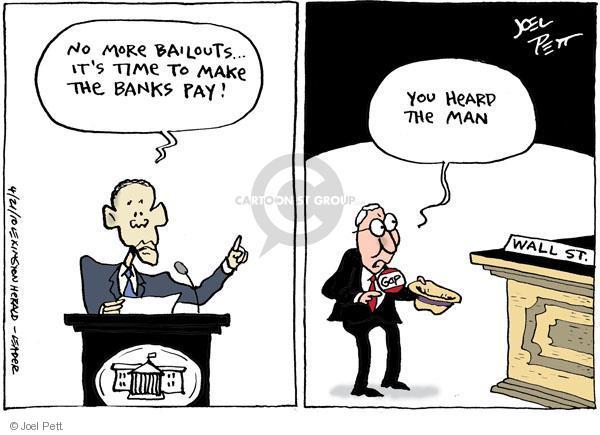 Cartoonist Joel Pett  Joel Pett's Editorial Cartoons 2010-04-21 bailout