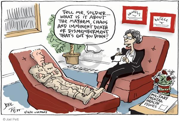 Cartoonist Joel Pett  Joel Pett's Editorial Cartoons 2010-07-26 military mental health