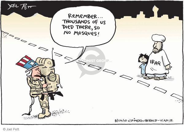 Cartoonist Joel Pett  Joel Pett's Editorial Cartoons 2010-08-24 religious freedom