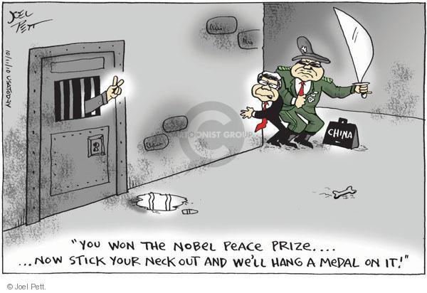 Cartoonist Joel Pett  Joel Pett's Editorial Cartoons 2010-10-10 Nobel Peace Prize