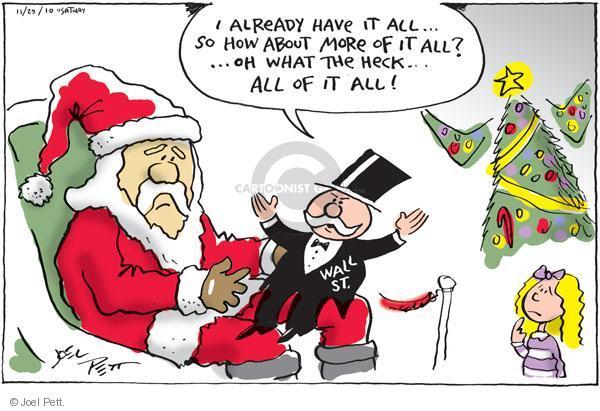 Cartoonist Joel Pett  Joel Pett's Editorial Cartoons 2010-11-29 greedy