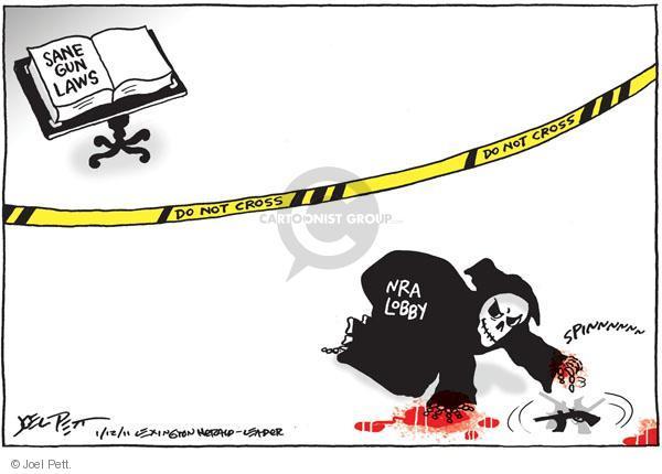 Sane gun laws.  Do not cross.  Do not cross.  NRA Lobby.