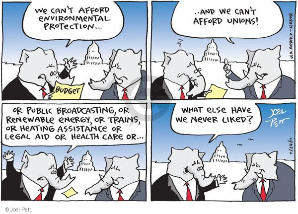 Cartoonist Joel Pett  Joel Pett's Editorial Cartoons 2011-02-24 Republican opposition