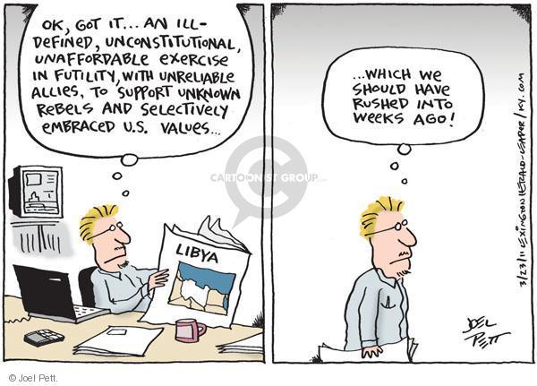 Joel Pett  Joel Pett's Editorial Cartoons 2011-03-23 Libya