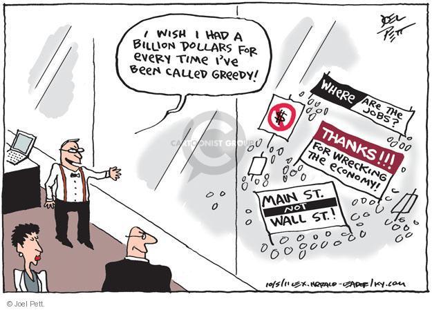 Cartoonist Joel Pett  Joel Pett's Editorial Cartoons 2011-10-05 greedy