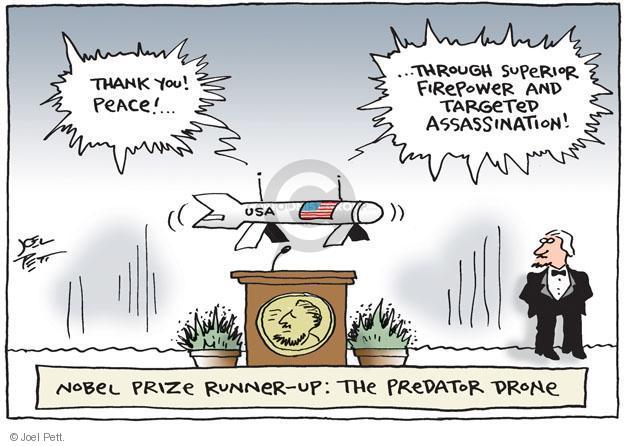 Cartoonist Joel Pett  Joel Pett's Editorial Cartoons 2011-10-09 drone