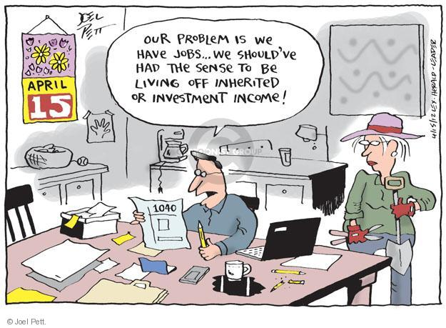 Cartoonist Joel Pett  Joel Pett's Editorial Cartoons 2012-04-15 tax return